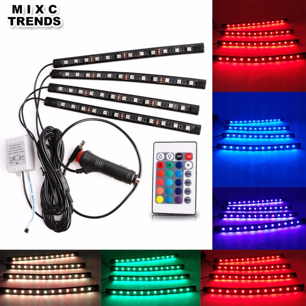 MIXC TRENDS, 4x12LEDS, tira de luces LED RGB para coche, 16 colores, decorativo de estilismo, lámparas de ambiente, luz Interior para coche con mando a distancia