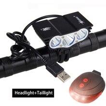 Lumière de vélo USB noire 3 * T6 LED avant phares de vélo 4 Modes lampe de vélo + batterie Rechargeable + chargeur + feu arrière de sécurité