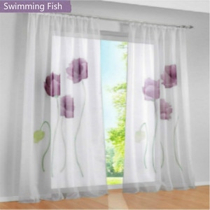1 piece Floral Tulle Sheer Curtain Beautiful Window Screening Balcony Curtains Bedroom Living Room Window Blind Tulle Home Deco