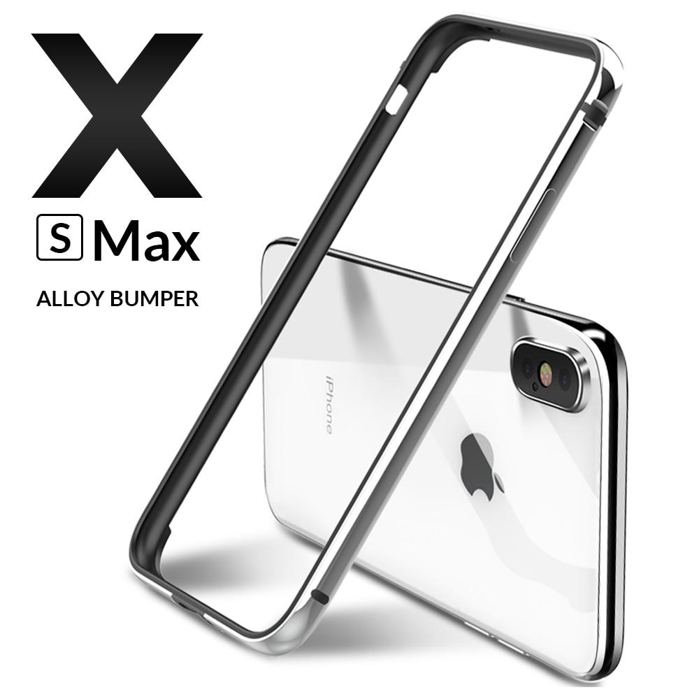 De Metal de lujo parachoques para iPhone X XR XS 11 Pro Max caso de aluminio tope Ultra delgada slim teléfono casos para iPhone X S X 11 7 8 cubierta