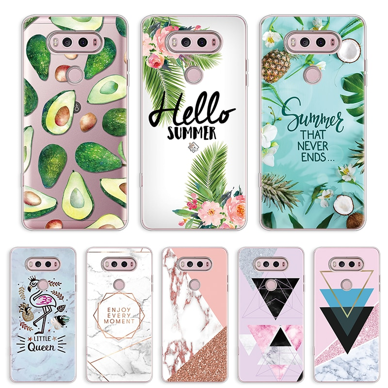 Funda de mármol para LG G6 G4 G5 G8 ThinQ K4 K8 K10 2017 K11 Plus Nexus 5X para LG Q7 V20 V30 X Power 2 aguacate Flamingo patrón cubierta