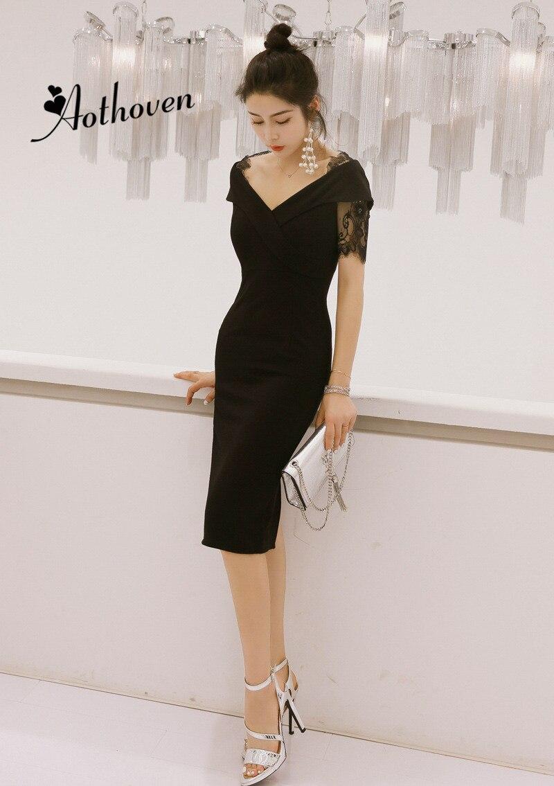 Verão vintage bandagem retalhos vestido de renda feminina manga curta v pescoço preto midi vestido casual senhora vestido elegante vestidos de festa