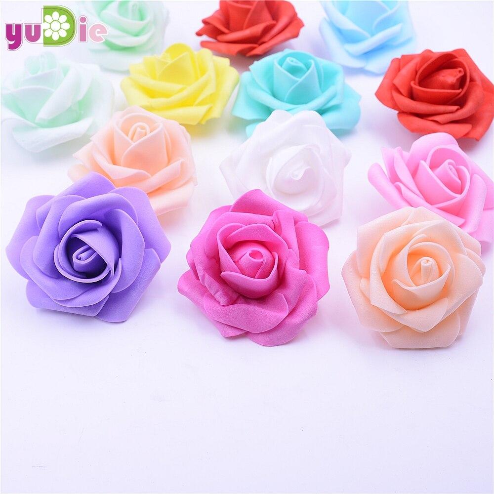 Lote de 10 unidades de 6,5 cm de espuma Artificial de prensado Multicolor con cabezal de rosa para decoración de bodas, coronas de artesanía DIY, suministros de regalo