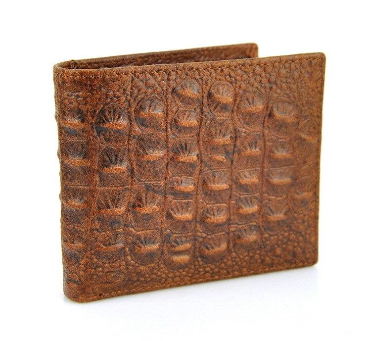 Homens Do Vintage de Couro Genuíno Curto Carteira Titular do Cartão de Crocodilo Jacaré Bifold Clássico Retro Dinheiro Purse ID Janela Magro Moda