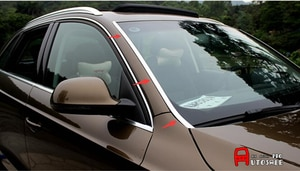 Stainless Front Windshield Glass Sidestrip cover trim 2pcs For Audi Q3 2012-2016
