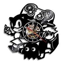Horloge murale Vintage en vinyle 12 pouces   Horloge Design moderne, thème jeu Sonic le hérisson CD, montre murale 3D, décoration pour la maison