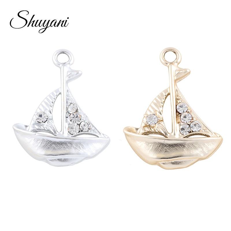 Colgante en forma de velero con forma de cristal de 20 Uds de aleación de Metal dorado y plateado para collar y pulsera, accesorios pendientes DIY colgantes