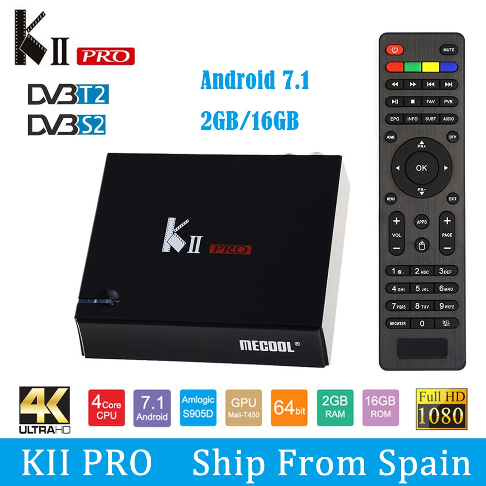 MECOOL Кии PRO Android 7.1.1 ТВ коробка DVB-S2 DVB-T2 K2 PRO Amlogic S905D 4 ядра 2G16G 4K Клайн NEWCAMD 2,4/Wi-Fi 5 ГГц двухъядерный процессор Wi-Fi