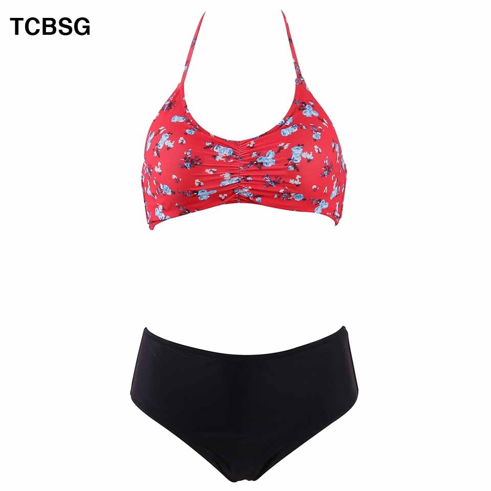 ¡Novedad de 2019! conjunto de Bikini brasileño de TCBSG, Bikini Sexy para mujer, bañador Halter, Bañador estampado, bañador cruzado, ropa de baño