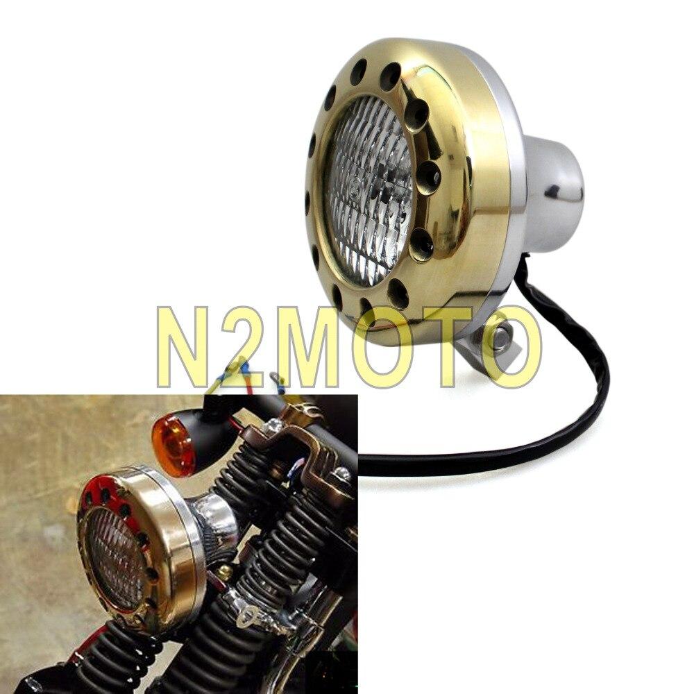 Motorcycle Solid Brass Headlight E-MARK Retro Head Light H4 Lamp Polish for Harley SX650 Glide Chopper Bobber