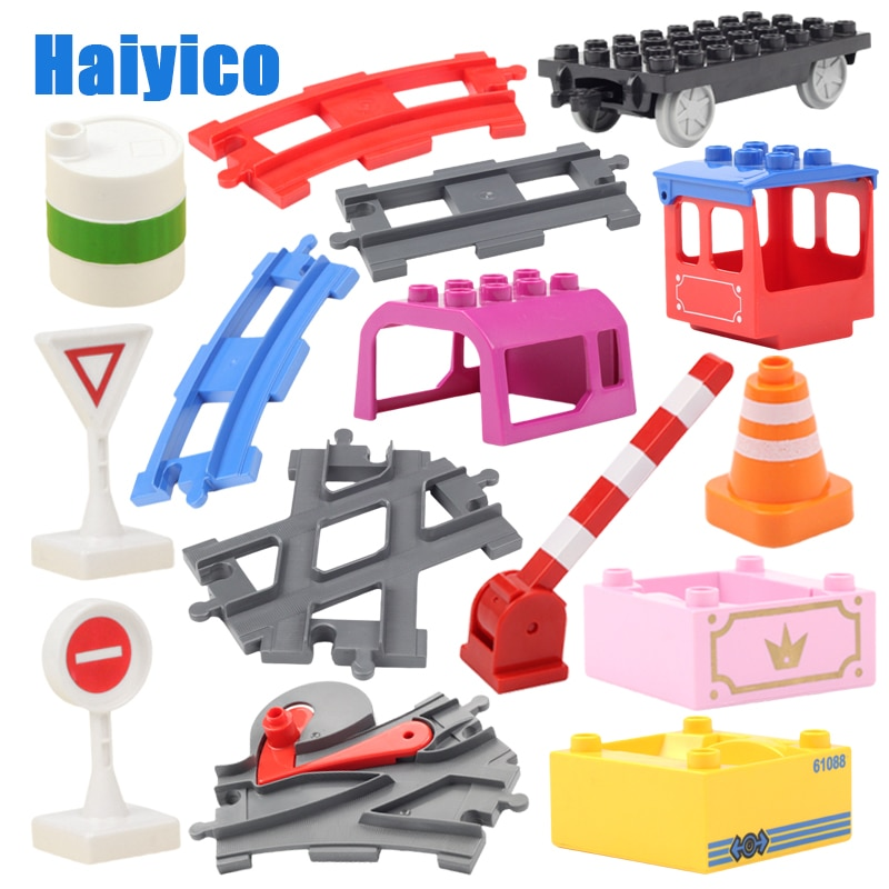 Big Building Blocks Accessories Compatible Duplos Train Track Set Traffic Signs Trailer Carriages Ra