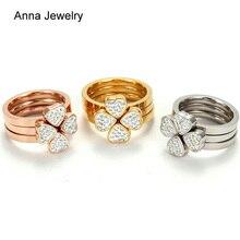 Nouveau concepteur romantique amour coeurs trèfle anneau en acier inoxydable métal avec cristaux blancs marque Triple anneau bijoux pour fille cadeau