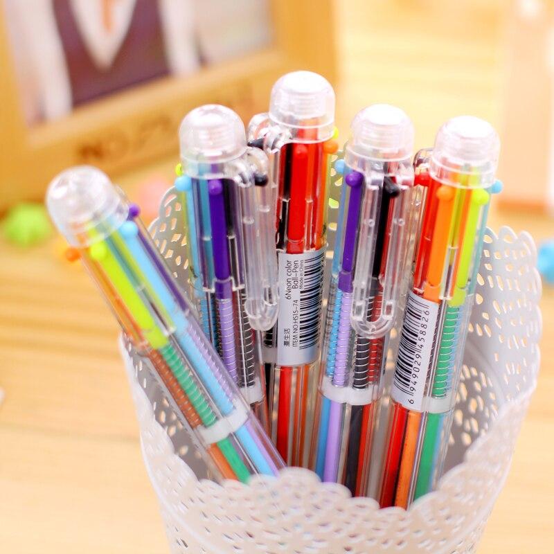 1 Uds nuevo 6 colores en 1 transparente moda Multi función bolígrafo pluma de bola de la Oficina de la Escuela de regalo E0604