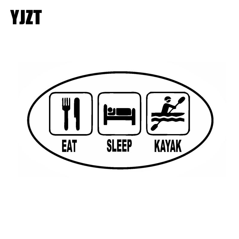 YJZT 14CM * 7,4 CM comer dormir KAYAK Oval divertida Calcomanía para auto vinilo calcomanía negro plata C10-01561