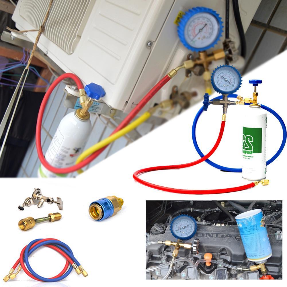 R22 R134A R410 R600 abridor, tubo de fluoruro de aire acondicionado, conector refrigerante de liberación rápida, manómetro de presión en frío