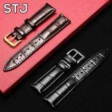 STJ Brand Soft Calfskin Leather Watchband 14mm 16mm 18mm 19mm 20mm 21mm 22mm Watch Band Strap Metal Classic Pin Buckle wristband