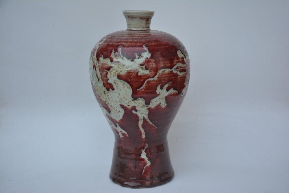 Rzadko stare chiny YUAN dynastia waza porcelanowa, smok, czerwony glazury, ręcznie malowane dekoracje/kolekcja/rzemiosła, darmowa wysyłka