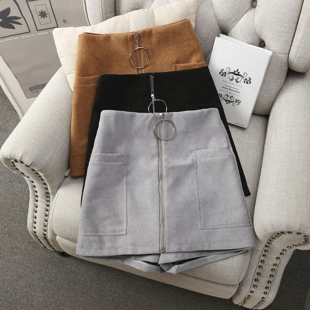 MUMUZI High waist ring zipper shorts 2020 summer new wide leg skirt shorts black sexy shorts female slim skirt shorts