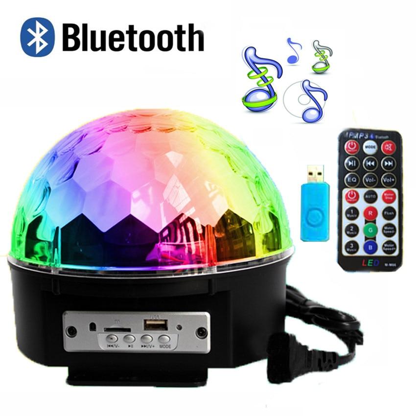 Bluetooth 9 Cores MP3 Bola Mágica Levou Lâmpada 21 Modos de Controle de Voz Stage Disco DJ Party Luzes Lâmpadas Do Projetor Do Laser