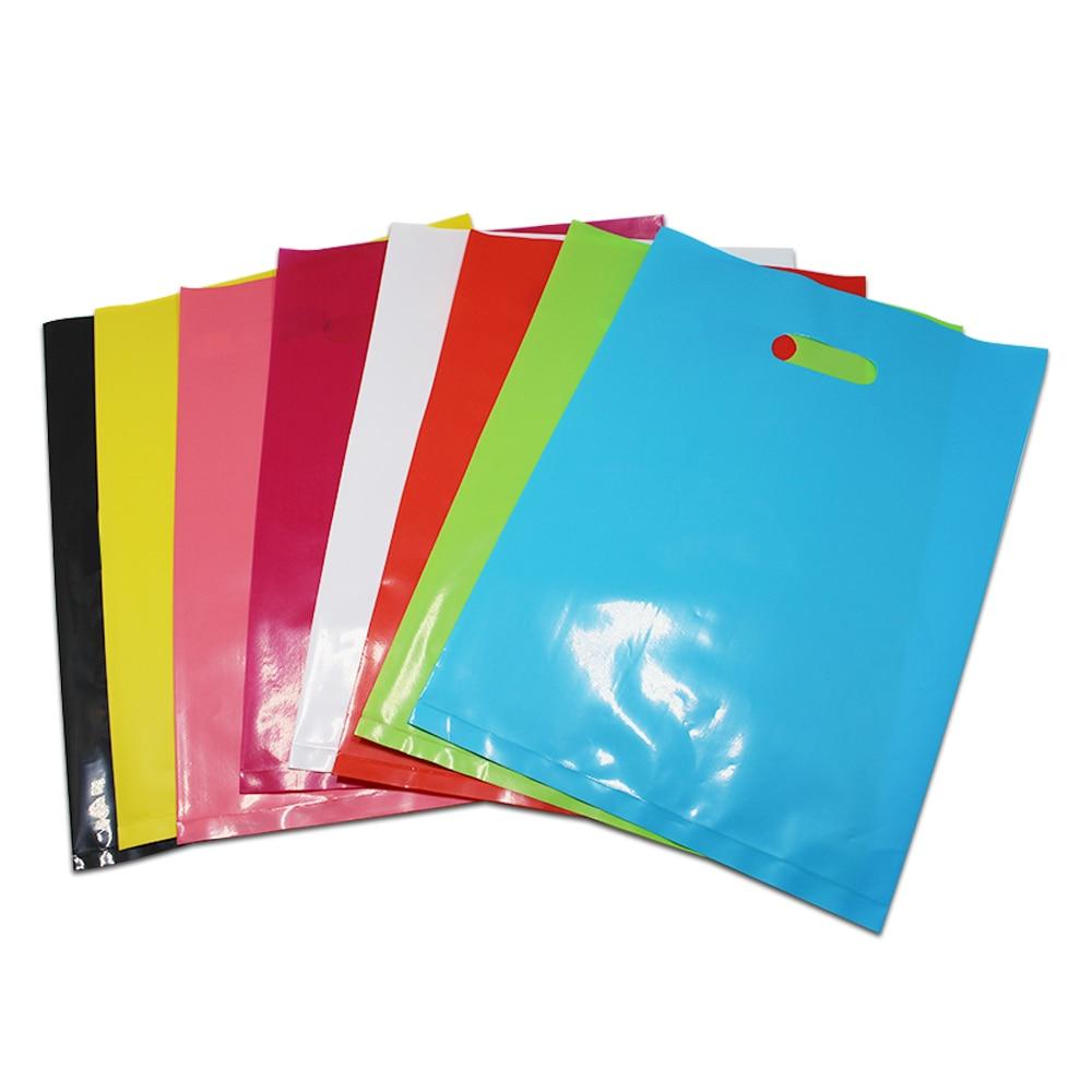 DHL 400 pçs/lote 20*26 cm Multi Cores Poli Boutique de Roupas Loja de Presentes Pacote de Saco de Plástico de Compras Portátil Pacote bolsa W/Handle