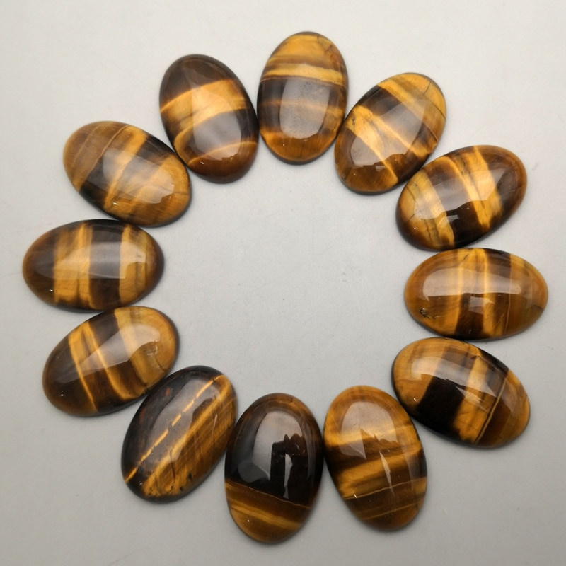 Moda tigre eye20x30mm 12 pçs/lote pedra natural cabochão charme grânulos para fazer jóias anel acessórios por atacado