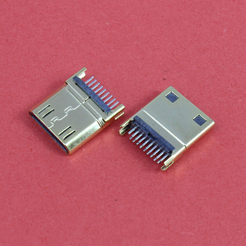 ChengHaoRan 1 pieza chapado en oro 19Pin HDMI macho enchufe tipo C Mini HDMI Jack tipo férula