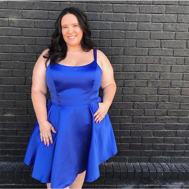فستان كوكتيل ساتان أزرق ملكي ، مقاس كبير ، قصير ، أحزمة سباغيتي ، فستان سهرة رسمي مفرد ، 2019