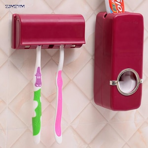 1 Set Tooth Brush Holder Automatic Toothpaste Dispenser + 5 Toothbrush Holder Toothbrush Wall Mount Stand Bathroom Tools