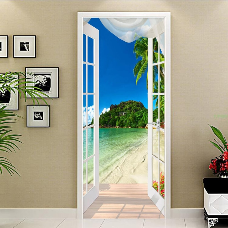 Adhesivo autoadhesivo de PVC para puerta a prueba de agua, adhesivo 3D para paisaje costero, papel tapiz para foto, papel tapiz creativo para sala de estar, pegatinas de decoración DIY 3 D