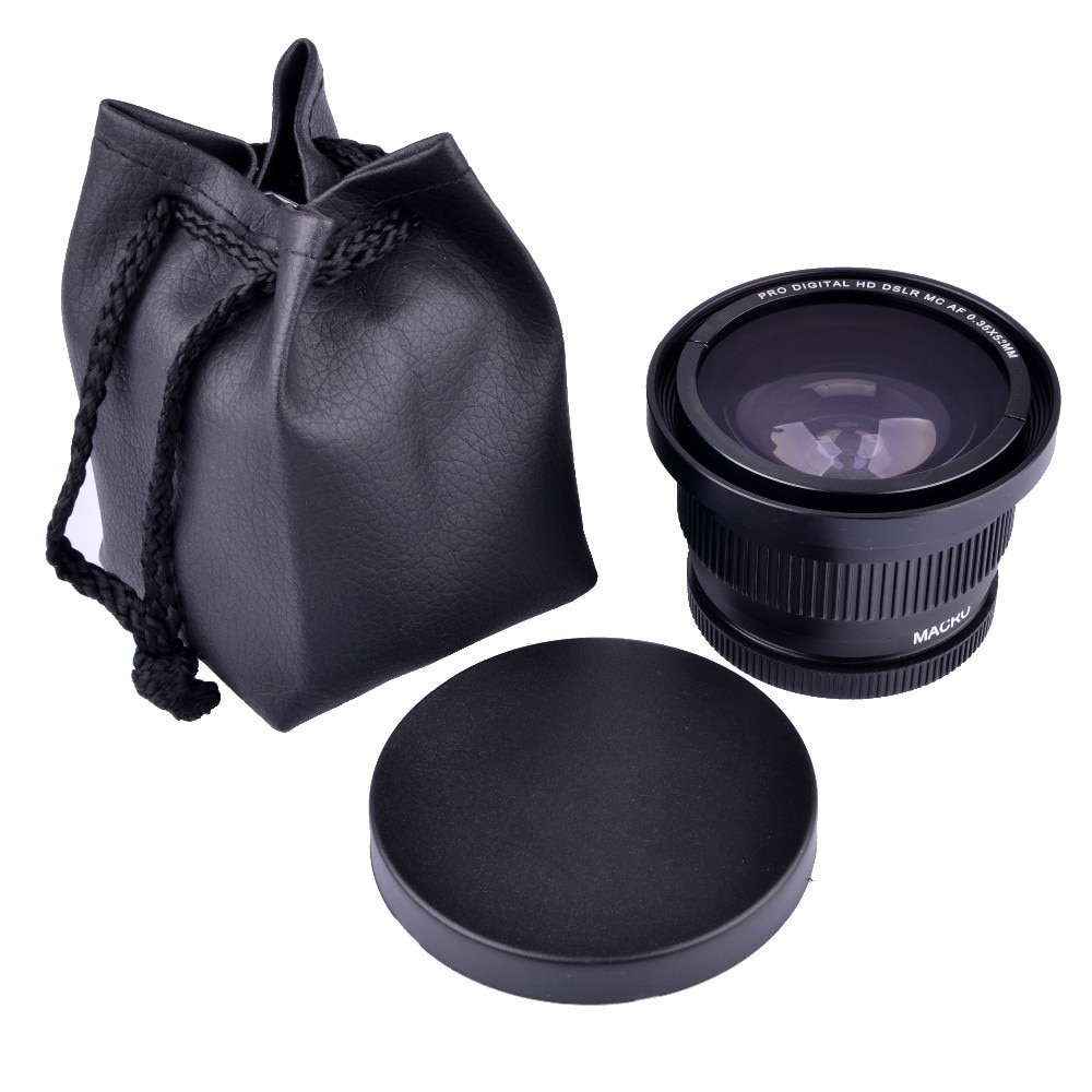 52mm 0.35x Super Fisheye Wide Angle Camera Lens for 52 MM Nikon D7000 D7100 D5200 D5100 D5000 D3100 D90 D60 With 18-55mm Lens 52 mm camera lens cap cover for nikon d5100 d5200 d3200 d3100 d7100 d90