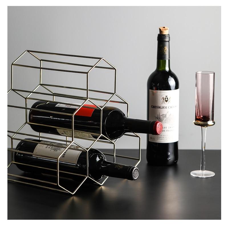 Creativo diseño Simple panal de miel Almacenamiento de vino tinto estante irónico oro rosa oro 6 rejillas Estilo nórdico vino titular
