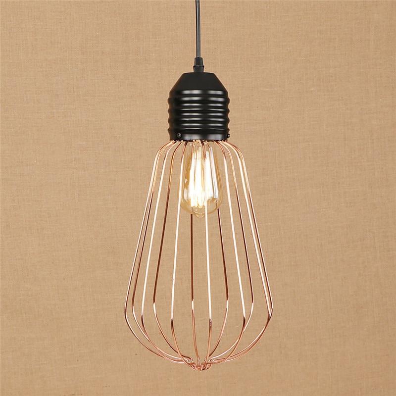 Edison Loft estilo jaula de hierro de oro rosa Droplight lámpara colgante LED moderna accesorios de iluminación colgante de Metal lámpara de iluminación del hogar Luminarias