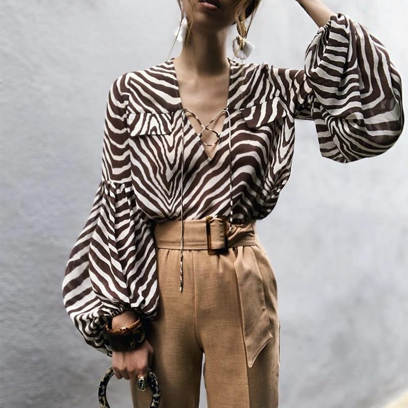 WHOSONG Vintage con estampado de rayas de cebra para mujer blusa camisa informal de manga larga Irregular de gasa blusas elegantes para mujer blusas