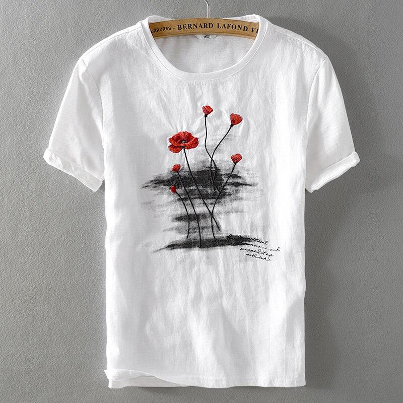 ¡Verano 2019! Camiseta de lino bordada para hombre, Camiseta holgada clásica de cuello redondo, camiseta casual de hombre de manga corta blanca, camiseta para hombre chemise