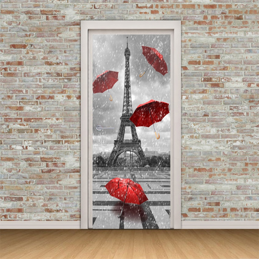 Self Adhesive Door Decal 3D Print Paris Tower Umbrella Landscape Picture Home Decor Vinyl Paper Waterproof Art Sticker Poster