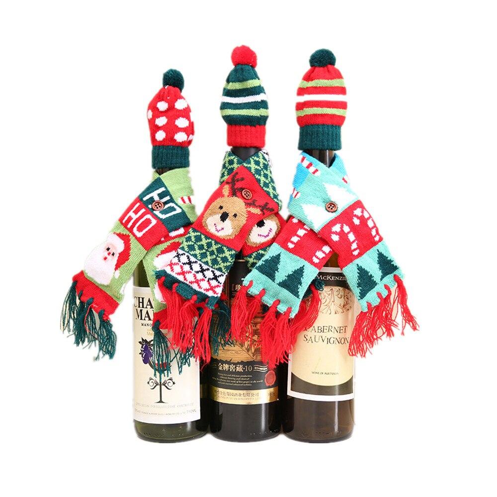 Рождественский милый рисунок красное вино бутылки вязаный шарф шляпа Крышка