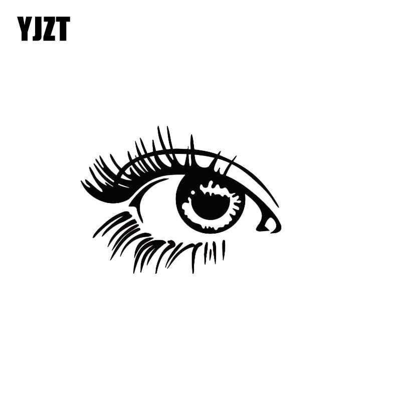 YJZT 13*9.5CM Lively Cute Beautiful Eyes Car Sticker Black/Silver Vinyl Car Decal Popular Fashion Style C20-0914