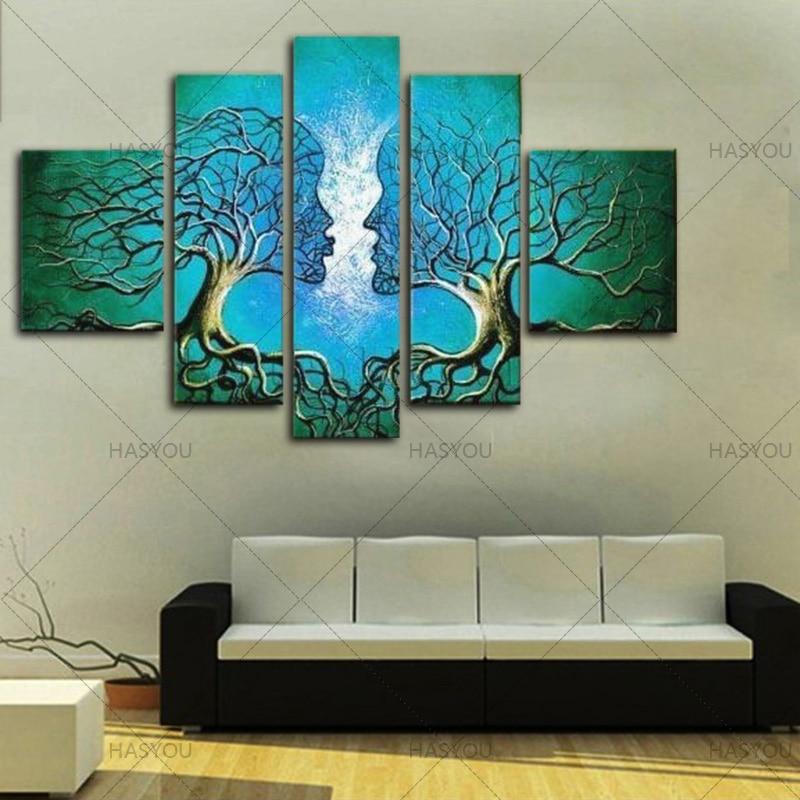 5 piezas hechas a mano flor árbol lienzo pintura moderna abstracta al óleo sobre lienzo pared arte boda regalo sala de estar Decoración