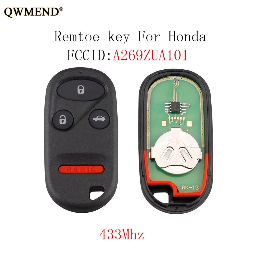 QWMEND 4 botones llave remota para Honda CR-V 1997-2001 Insight 2000-2006 Odyssey 1996-2004 para Honda A269ZUA101 433 llave de auto MHz