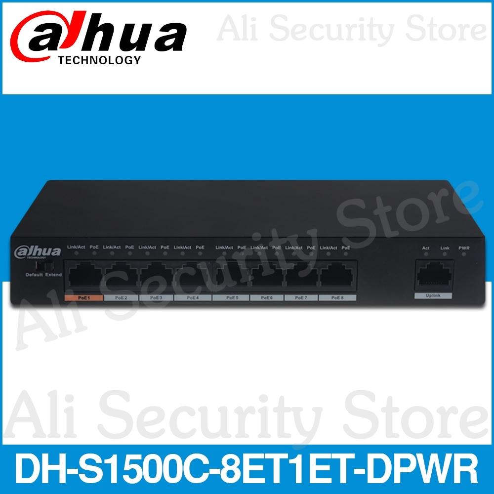 Dahua DH-S1500C-8ET1ET-DPWR interruptor de PoE, 8CH Ethernet interruptor de potencia apoyo 802.3af 802.3at POE + Hola-alimentador PoE estándar