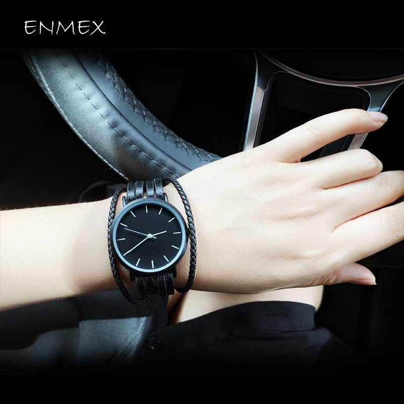 gift Enmex brief lady wristwatch Genuine bracelet leather simple designs Trend and women fashion quartz watches enlarge