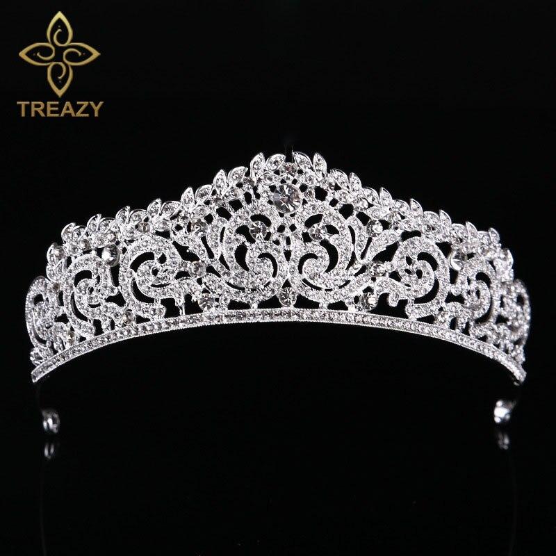 Tiara de diamantes de imitación de cristal de Color dorado/plateado de treezy, corona, Princesa, Reina, desfile, graduación, Tiaras, accesorios para el cabello de boda