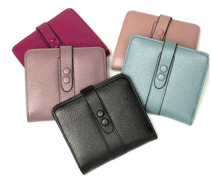 Genuine leather soft short wallet 2 folder coin purse for women