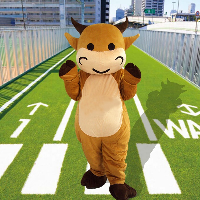 Disfraz de Mascota de vaca de Halloween para adultos de alta calidad de dibujos animados de toro de vaca disfraces de dibujos animados de animales Cosplay disfraz de Carnaval de Mascota