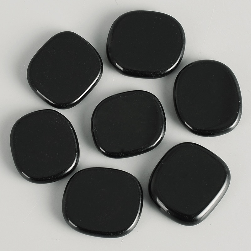 Piedra de obsidiana negra, piedra preciosa natural de obsidiana, artesanía de terapia de cristal curativa 28*25*7mm, piedras minerales para tratamiento con letras Reiki