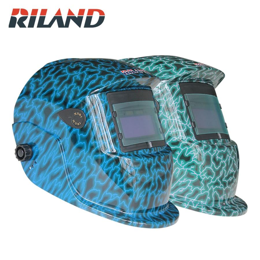 RILAND X501Welding części w chłodzie przyłbice spawalnicze samościemniającymi słoneczna maska do spawania/oczy gogle dla MMA MIG MAG TIG SPAWARKA