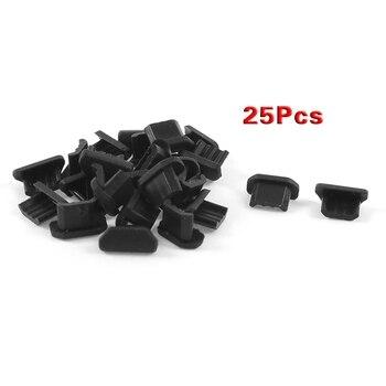 Черная мягкая пластиковая крышка док-станции, 25 шт., защита от пыли, micro USB, разъем для наушников, пылезащитная заглушка для usb, мобильный телефон