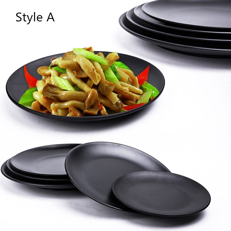 Gran oferta plato de melamina plato negro redondo para Sushi espagueti filete envase para ensalada Hot Pot Shop cocina japonesa BBQ Kitchen 1 ud.