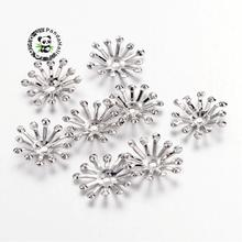 Capuchons de perles de fer platine, 12x3.5mm, trou 1.5mm