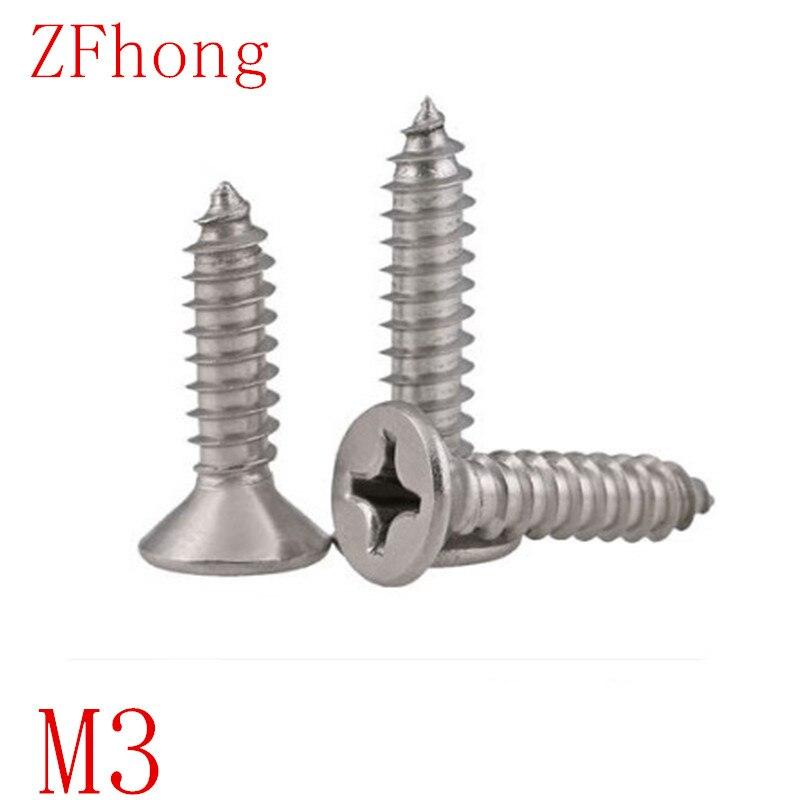 100 PCS m3 * 6/8/10/12/16/20/25/30 3mm plana de aço inoxidável 304 cabeça rebaixada tocando parafuso